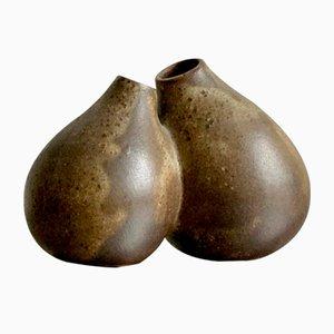 Jarrones soliflor MId-Century de arenisca de doble brote