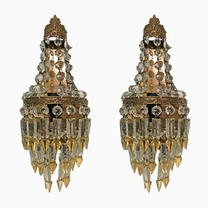 Vintage Crystal Sconces, Set of 2