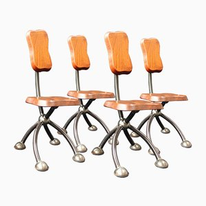 Vintage Brutalist Style Chairs, Set of 4