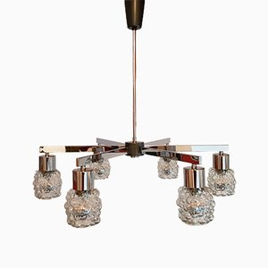 Chrome & Bubble Glass Chandelier, 1960s