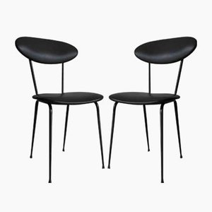 Black Leather Chairs, 1950s, Set of 2