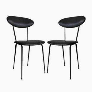 Schwarze Leder Stühle, 1950er, 2er Set