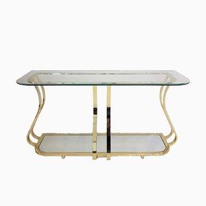 Consolle vintage in metallo curvo dorato e vetro specchiato
