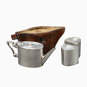 Vintage Teapot Set with Leather Case, 1920s