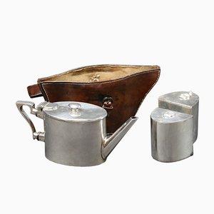 Vintage Teekanne Set mit Lederhülle, 1920er