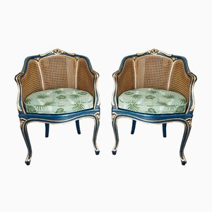 Antique Louis XV Style Bergère Armchairs, Set of 2