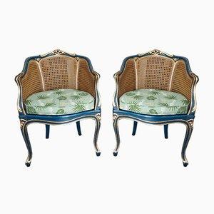 Antique Louis XV Style Bergère Armchairs, Set of 2