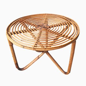 Niedriger runder Tisch aus Bambus, 1950er