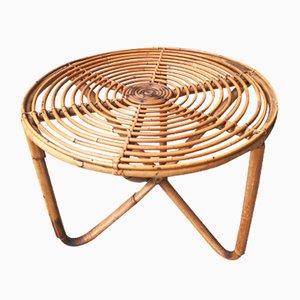 Tavolino rotondo basso in bambù, anni '50