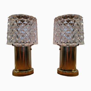 Lampade con paralumi in vetro di Kamenický Šenov, anni '70, set di 2