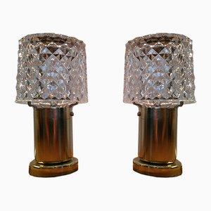 Lámparas con pantallas de vidrio de Kamenický Šenov, años 70. Juego de 2