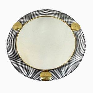 Specchio da parete con cornice in metallo, anni '50