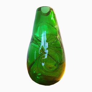 Jarrón de vidrio verde, años 70