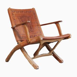 Silla plegable vintage de cuero coñac de Angel I. Pazmino para Muebles de Estilo