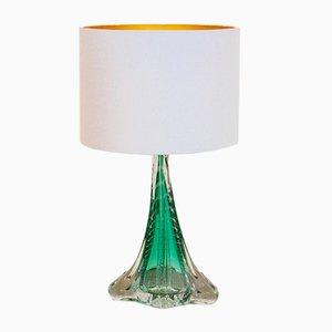 Lámpara de mesa de vidrio translúcido hecha a mano de Boussu, años 60