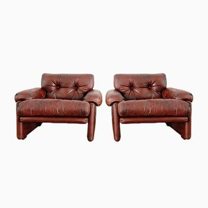 Vintage Leather Armchairs by Tobia & Afra Scarpa for B & B, Set of 2