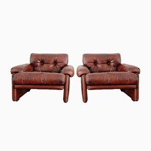 Vintage Leder Sessel von Tobia & Afra Scarpa für B & B, 2er Set