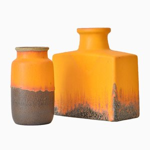 Vintage Orange & Brown Lava Glaze Vases from Scheurich, Set of 2