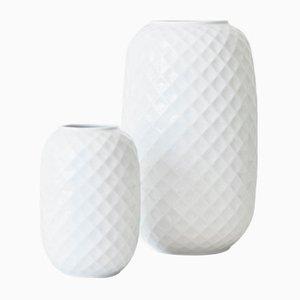 Weiße Holiday Porzellan Vasen von Thomas, 2er Set