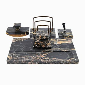 Black Portoro Marble Desk Set, 1920s