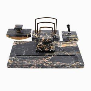 Schwarzes Portoro Marmor Schreibtisch Set, 1920er