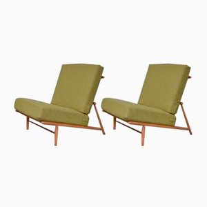 Vintage Northern European Pine Easy Chairs, Set of 2