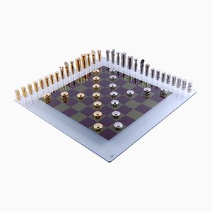 Crystal, Brass, & Gold Chess Set by Antonella Fonda, 1980s