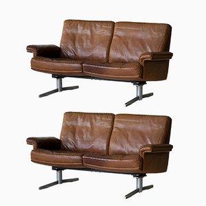 Divano a due posti modello DS 31 vintage in pelle di de Sede, set di 2