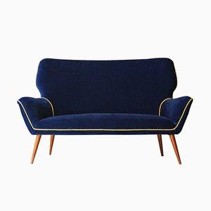 Velvet & Conic Legs 2-Seater Sofa, 1950s