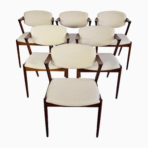 Mid-Century Model 42 Dining Chairs by Kai Kristiansen for Schou Andersen, Set of 6