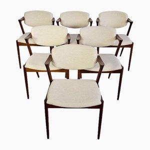Mid-Century Modell 42 Esszimmerstühle von Kai Kristiansen für Schou Andersen, 6er Set