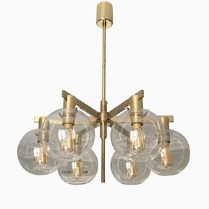 Lámpara de araña con 6 luces en globo de Hans-Agne Jakobsson, años 60