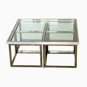 Brass Coffee Table with 4 Nesting Tables by Maison Charles, 1960s