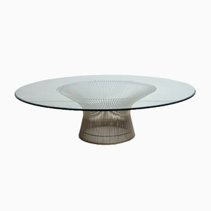 Table Basse Mid-Century en Métal & Verre Rond par Warren Platner pour Knoll International