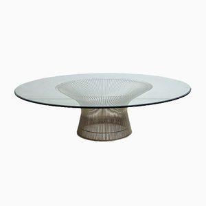 Tavolino da caffè Mid-Century in cavo metallico e vetro di Warren Platner per Knoll International