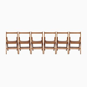 Wooden Folding Chairs from ESA, 1950s, Set of 6
