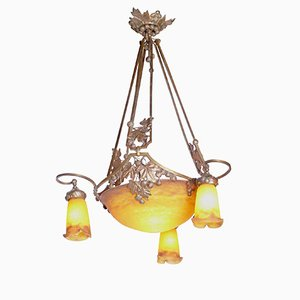 Lampada da soffitto Art Nouveau di Muller Frères, anni '10
