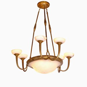 Art Deco Alabaster Chandelier with 3 Double Arms, 1920s