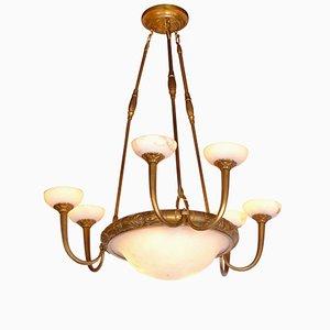 Lámpara de araña Art Déco de alabastro con 3 brazos dobles, años 20