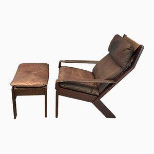 Norwegischer Sessel und Fußschemel von Westnofa