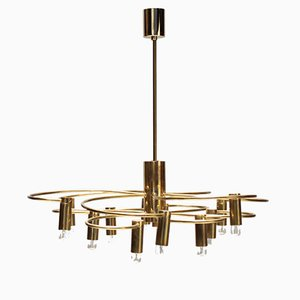 Vintage Brass Chandelier by Gaetano Sciolari for S.A. Boulanger