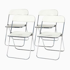 Plia White Folding Chairs by Giancarlo Piretti for Castelli, 1960s, Set of 4