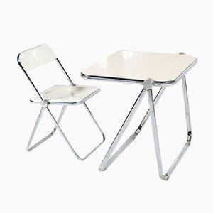 Escritorio y silla Plia plegable en blanco de Giancarlo Piretti para Castelli, años 60
