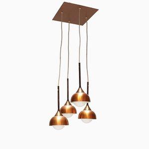 Lámparas colgantes vintage con 4 apliques de cobre
