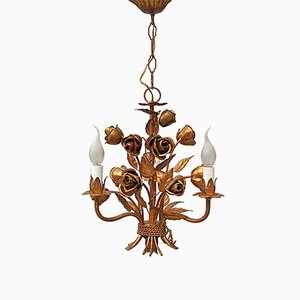 Italian Rose Tole Chandelier with Gold Finish, 1970s