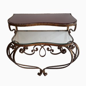 Wall-Mounted Gilded Iron & Glass Console Table by Pier Luigi Colli, 1950s