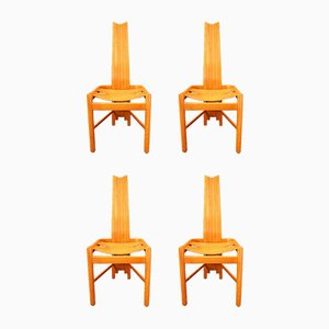 Highback Dining Chairs in Oak, 1980s, Set of 4