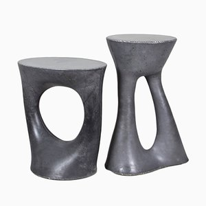 Tall & Short Charcoal Kreten Side Tables by Isaac Friedman-Heiman for Souda, Set of 2