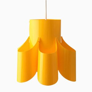 Lampada da soffitto vintage in plastica gialla