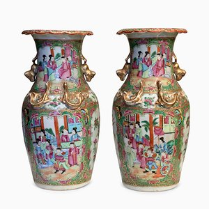Antique Chinese Canton Famille Rose Vases, Set of 2